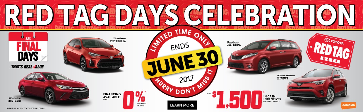 Toyota Red Tag Days: Toyota Canada Incentives in Milton and the Greater Toronto Area GTA