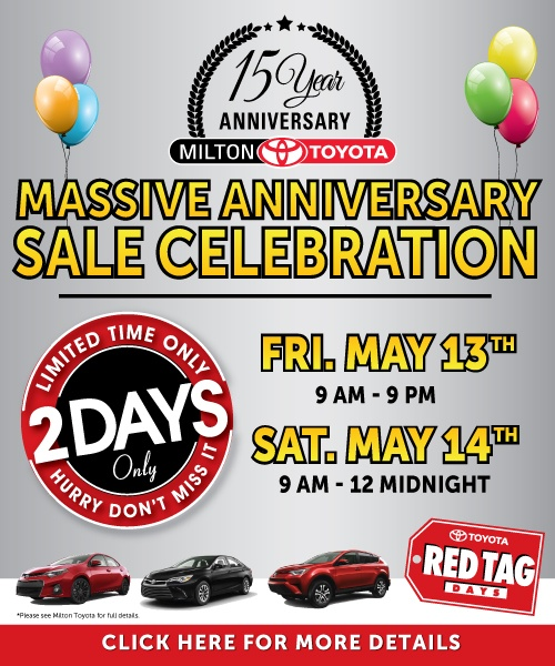 Milton Toyota's Anniversary Sale