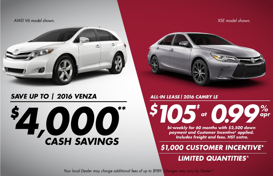 Cash Purchase August Toyota Canada Incentives in Milton Ontario, and the GTA.