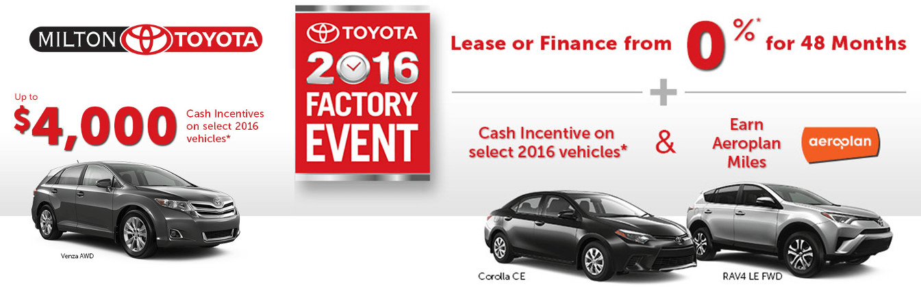 Toyota Factory Event: Toyota Canada Incentives in Milton