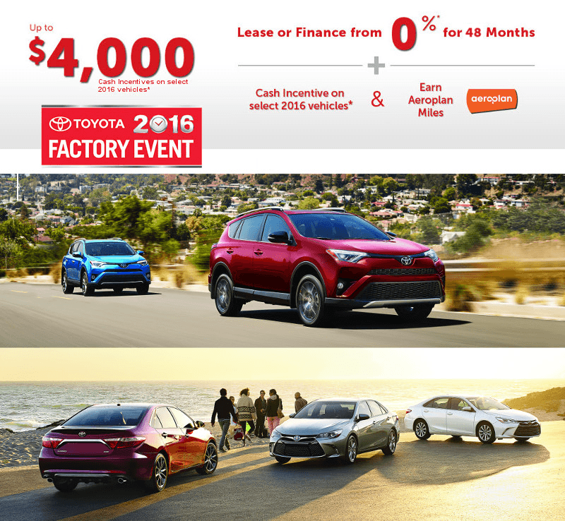 Factory Event: Toyota Canada Incentives for August 2016