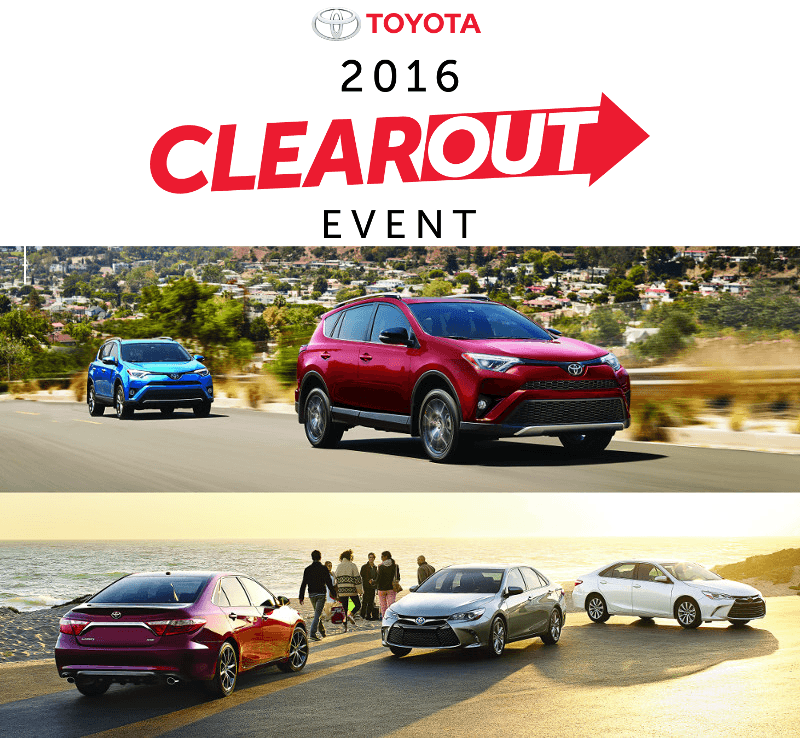 Clearout Event: Toyota Canada Incentives for September 2016