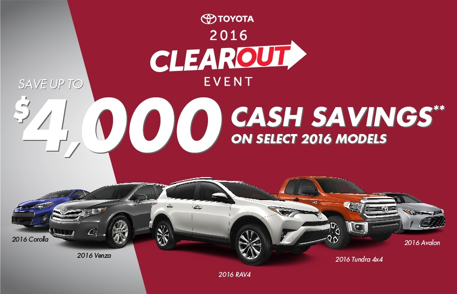 Toyota Clearout October 2016 Toyota Canada Incentives in Milton Ontario, and the GTA.