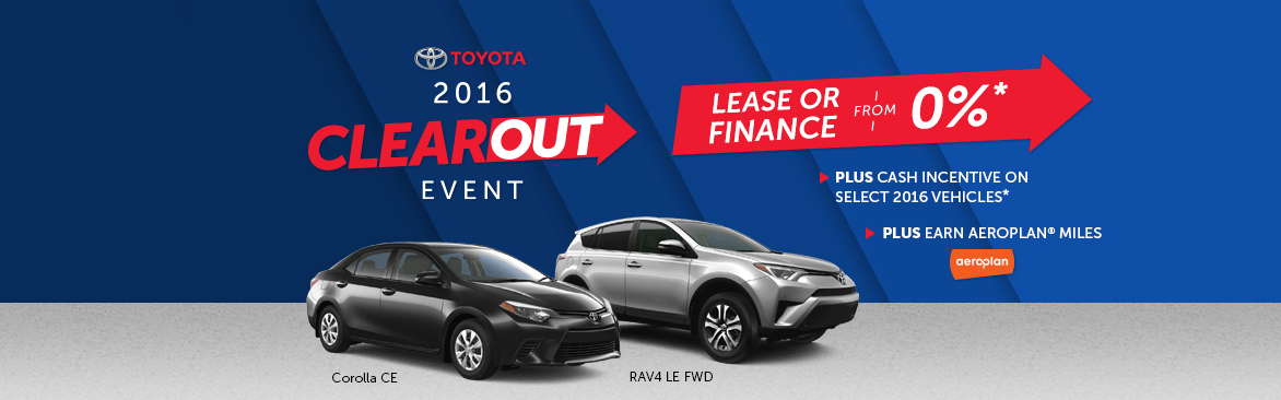 Toyota Clearout Event: Toyota Canada Incentives in Milton