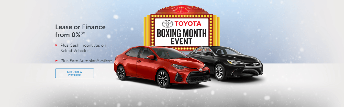 Toyota Boxing Month Event: Toyota Canada Incentives in Milton
